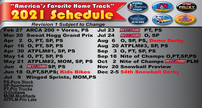 5 Flags Speedway Schedule